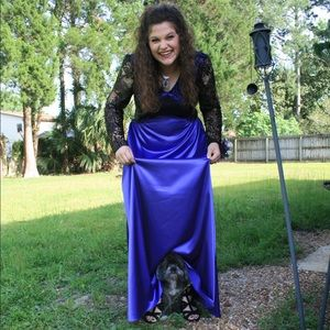 Dresses & Skirts - Black Lace and Purple Formal Dress